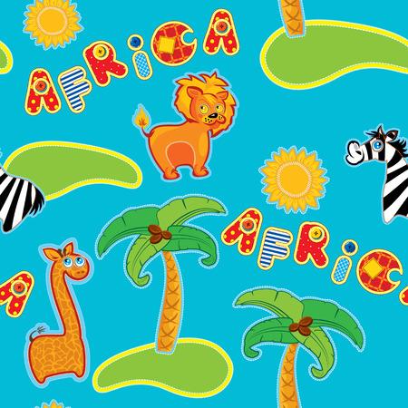 leon caricatura: Modelo inconsútil con los animales de dibujos animados - jirafa, León y cebra y palabra dibujado a mano África - hecho a mano - imágenes recorte del fondo para los niños. Vectores