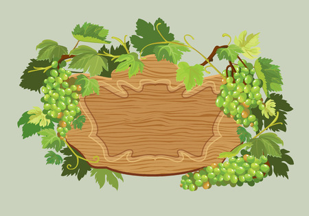 vineyards: Wooden oval frame with green grapes and leaves isolated on beige background. Element for restaurant, bar, cafe menu or label.