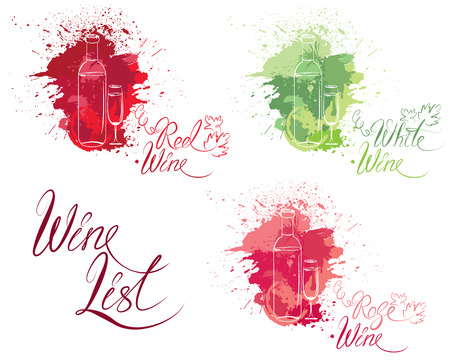 isabella: Set of elements in grunge style with bottle and glass, isolated on white background. Handdrawn text Wine list, Family Winery. Design for restaurant, bar, cafe menu or label.
