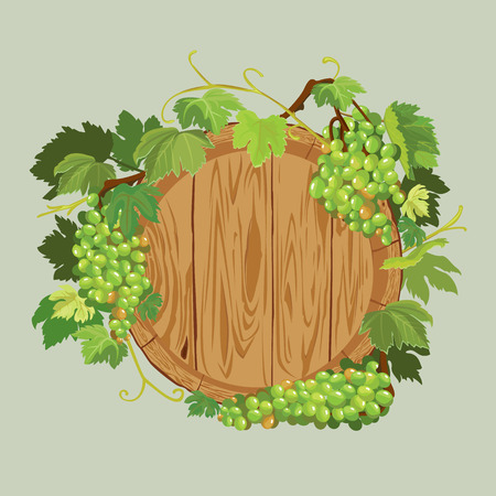 Wooden round frame with green grapes and leaves isolated on beige background. Element for restaurant, bar, cafe menu or label. Illustration