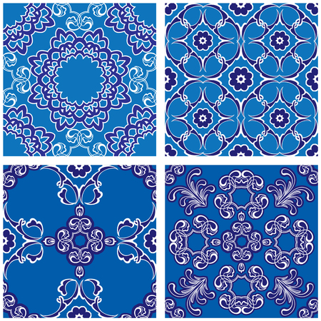 material flower: Set of seamless patterns - blue and white ceramic tiles with floral ornament - wall Vintage Background Collection Illustration