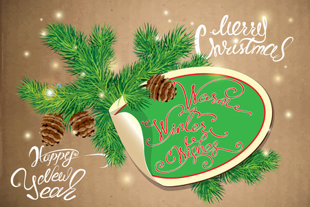 firtree: Holiday greeting Card with oval paper frame, canes and fir-tree branches. Hand written calligraphic text Merry Christmas and Happy New Year, Warm winter wishes on old paper background. Illustration