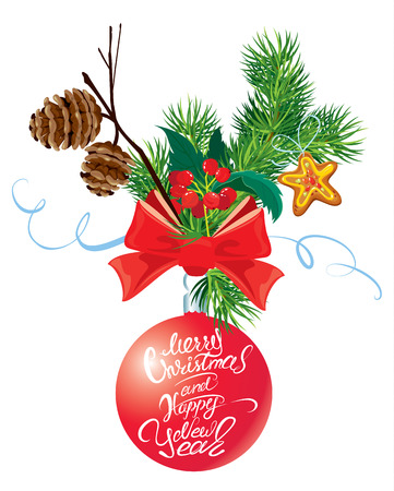 fir cone: Holiday card with ribbon and bow, fir tree cone and branch, holly berries and calligraphic hand written text Merry Christmas and Happy New Year. Isolated on white background. Illustration