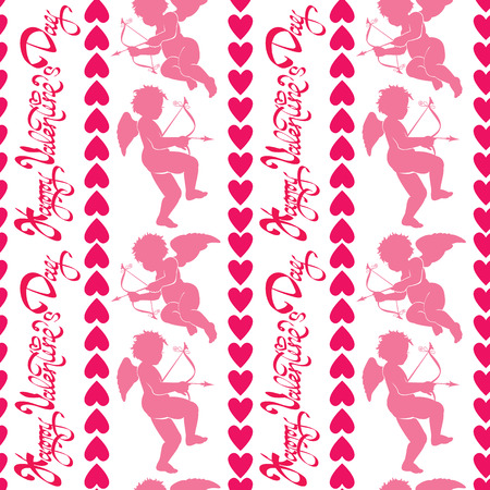 eros: Seamless pattern with silhouettes of angel and heart. Calligraphic text Happy Valentine`s Day, pink background, Love concept. Illustration