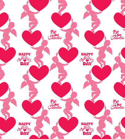 eros: Seamless pattern with silhouettes of angel and heart. Calligraphic text Be my Valentine and Happy Valentine`s Day. Pink background, Love concept. Illustration