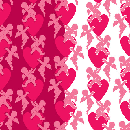 eros: Seamless pattern with silhouettes of angel and heart. Valentine`s Day pink background, Love concept.
