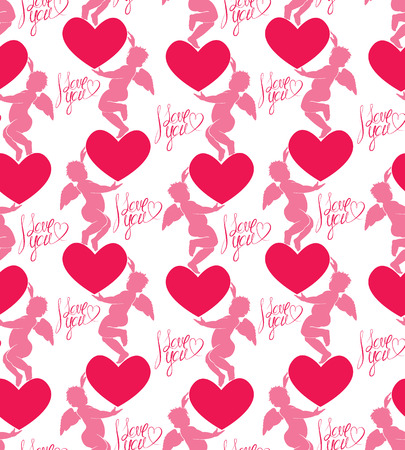 eros: Seamless pattern with silhouettes of angel and heart. Calligraphic text I love you. Happy Valentine`s Day pink background, Love concept.
