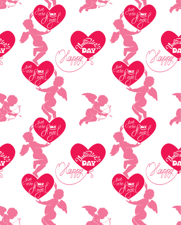 eros: Seamless pattern with silhouettes of angel and heart, calligraphic text You are my Angel and Happy Valentine`s Day. Pink background, Love concept.