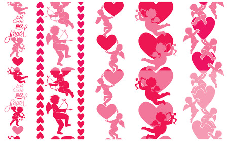 eros: Set of 5 vertical lines, Seamless patterns with silhouettes of angel and heart. Calligraphic text You are my angel. Design elements for Happy Valentine`s Day holiday. Pink background, Love concept. Illustration
