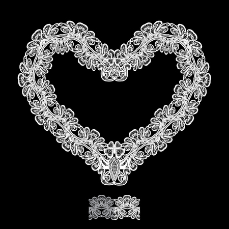 black and white: White Heart shape is made of lace doily isolated on black background. Frame element for Holiday Card, Valentines Day, Wedding invitation.