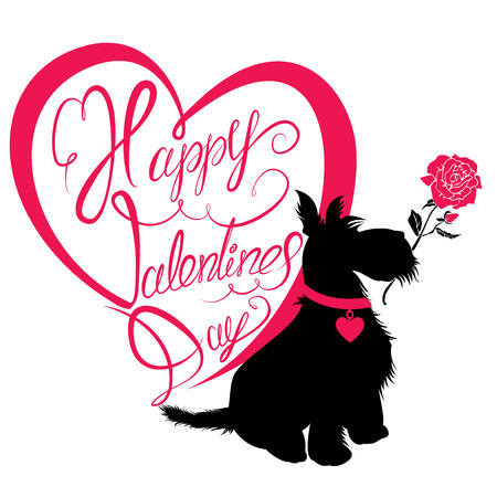 s day: Holiday card. Calligraphic written text Happy Valentine s Day in heart shape and scottish terrier dog silhouette with rose, isolated on white background. Illustration