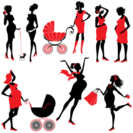 silhouette woman: Set of  pregnant woman Silhouettes in black and red colors, isolated on white background. Elements for Life style design. Walking with buggy, shopping, chatting.