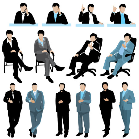 sit: Set of business people silhouettes, isolated on white background. 2 variants of colors.