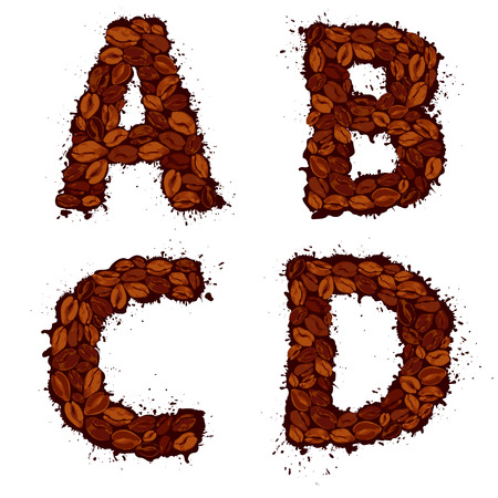 abcd: ABCD, english alphabet letters, made of coffee beans, in grunge style, isolated on white background