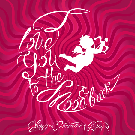 holiday invitation: Holiday card or invitation with angel silhouette and Calligraphic text I love you to the moon and back. Happy Valentines Day Design.