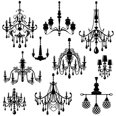 luster: Set of Decorative elegant luxury vintage crystal chandelier icons, black silhouette luster isolated on white. Illustration