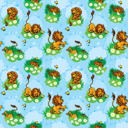 butterfly background: Seamless pattern with funny lion play with butterfly on blue background. .