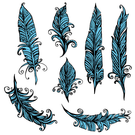 in vain: Set of ornamental Feather, tribal design. Ink hand drawn illustration with different indian feathers in black and blue colors. Illustration
