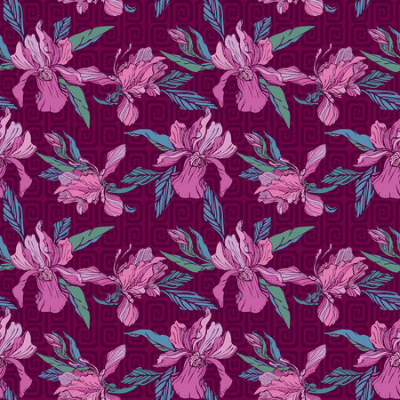 Seamless pattern with orchid flowers on violet background. Luxery background for summer holidays or vacation design.