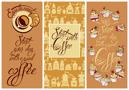 cappuccino: Set of Template Flayer or Menu design for coffeehouse. Background for restaurant or cafe. Hand written calligraphic text Enjoy the moment, Start your day with a good coffee. Illustration