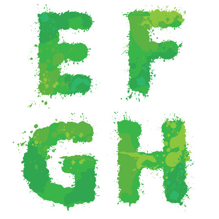 water liquid letter: E, F, G, H, Handdrawn english alphabet - letters are made of green watercolor, ink splatter, paint splash font. Isolated on white background. Illustration