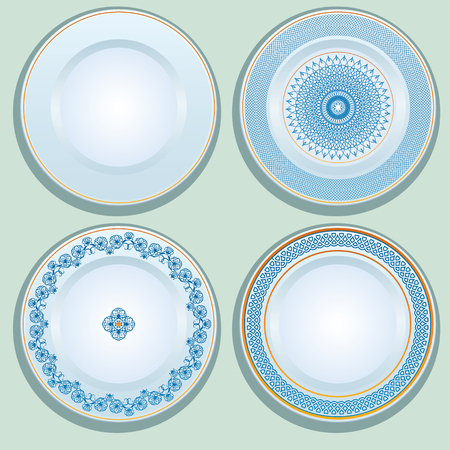 white russian: Set of White porcelain plate with blue ornament, patterned round border. Russian gzhel style.