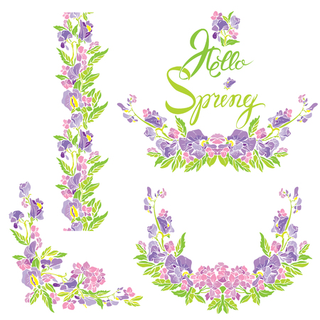 Set of border, frame, vignette with flowers and calligraphic handwritten text Hello Spring, isolated on white background.