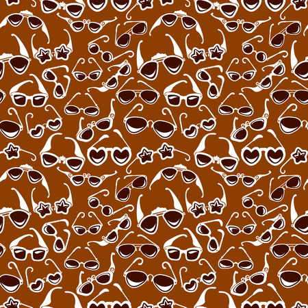 Seamless pattern in retro style with sunglasses icon isolated on brown background. Background for summer, vacation, travel design.