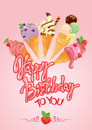 Greeting card with ice cream cones on pink background. Calligraphic handdrawn text Happy Birthday. Holiday design. Illustration