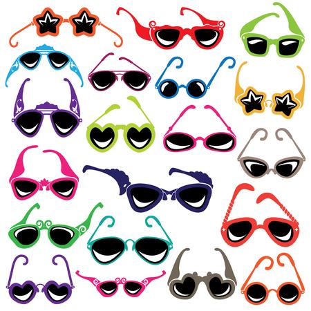 glamur: Colorful sunglasses icon set isolated on white background.