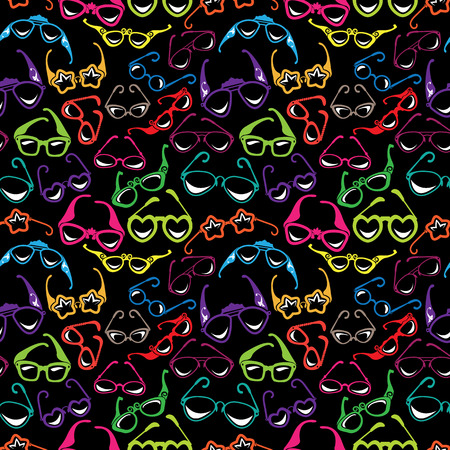 Seamless pattern with Colorful sunglasses icon isolated on black background. Background for summer, vacation, travel design. Vettoriali
