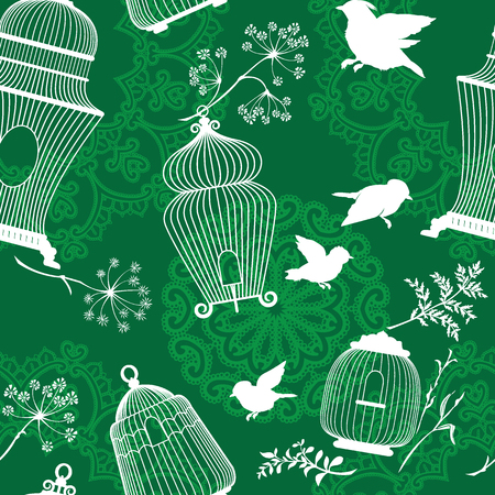 green plants: Seamless pattern with decorative white Silhouettes of bird cage, flying birds, plants on green background with mandala ornaments. Illustration