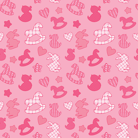douther: Seamless pattern with toys - horses, rabbits, hearts and stars. Newborn girl pink color background. Design for baby shower, card, invitation, etc. Illustration