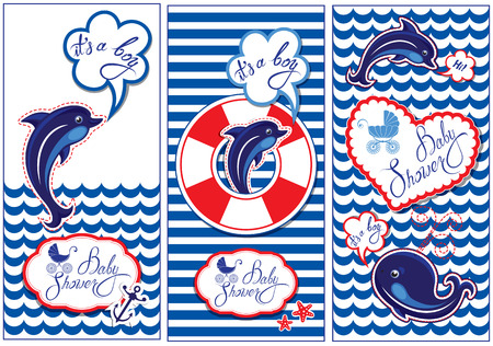 seastar: Baby boy Shower Nautical Set. Party Decoration, Scrapbook, invitation card. Funny flyers with dolphin, whale and frame on stripe white and blue  background. Illustration