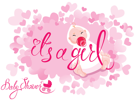 Baby Shower. Its a girl congratulations on the birth of girl. Pink background with hearts.