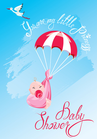 Baby shower, card, invitation, etc. Stork, parachute with girl, calligraphic text You are my little princess.