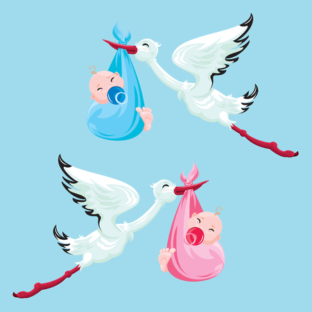 infancia: Set of images. Stork with boy and girl. Elements for newborn or childbirth design, card, invitation, shower, etc.