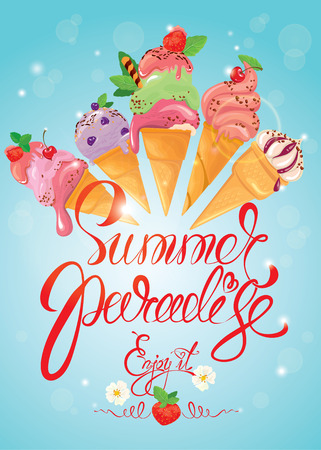 Greeting card with ice cream cones on blue background. Calligraphic handdrawn text Summer Paradise, Enjoy it. Seasonal summer, vacations or travel design. Vetores