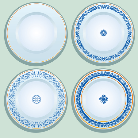 Set of White porcelain plate with blue ornament, patterned round border. Russian gzhel style.