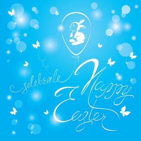 wishing card: Holiday calligraphy, ballon egg and rabbit. Hand lettering greetings Happy Easter on sky blue background.