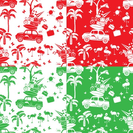 travel backgrounds: Set of seamless patterns with small retro travel car, luggage, palm trees, flamingo, red, green and white backgrounds.