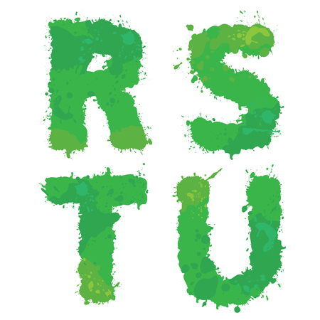 u s: R, S, T, U, Handdrawn english alphabet - letters are made of green watercolor, ink splatter, paint splash font. Isolated on white background.