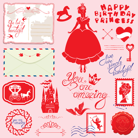 Set of vintage postcards, post stamps, envelope, handwritten calligraphic text for girls. Happy Birthday design. Red silhouette of princess girl with accessories on pink background.