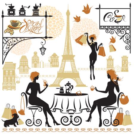 Jeu de silhouettes de filles, Illustration de deux jeunes femmes buvant un café après une journée de shopping à Paris. Éléments pour la conception de menu de café, de restaurant, de barre. Vecteurs