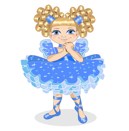 ruffles: Little girl in a brilliant dress on a white background Illustration