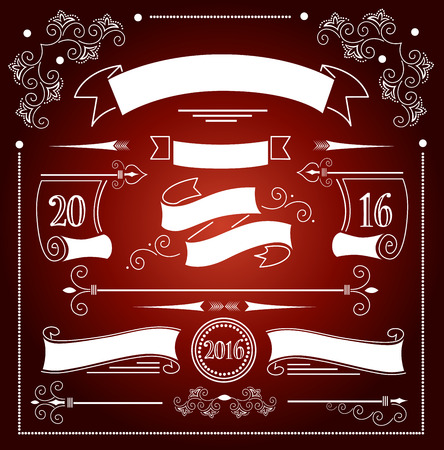 mo�os de navidad: Christmas ribbons set Vectores