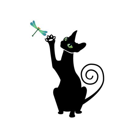 blue eye: black cat silhouette