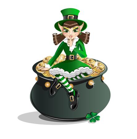 ruffles: Patrick Day. Leprechaun girl and a pot of gold