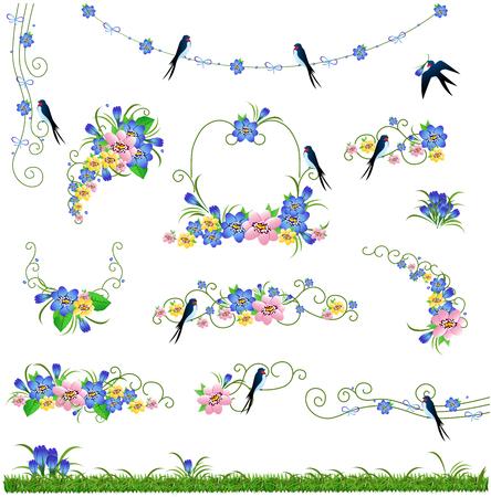 grass weave: Flowers grass bird frame set