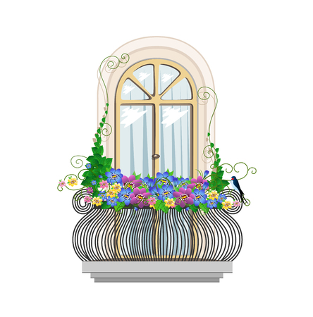 beautiful architecture balcony with flowers Vector Illustration
